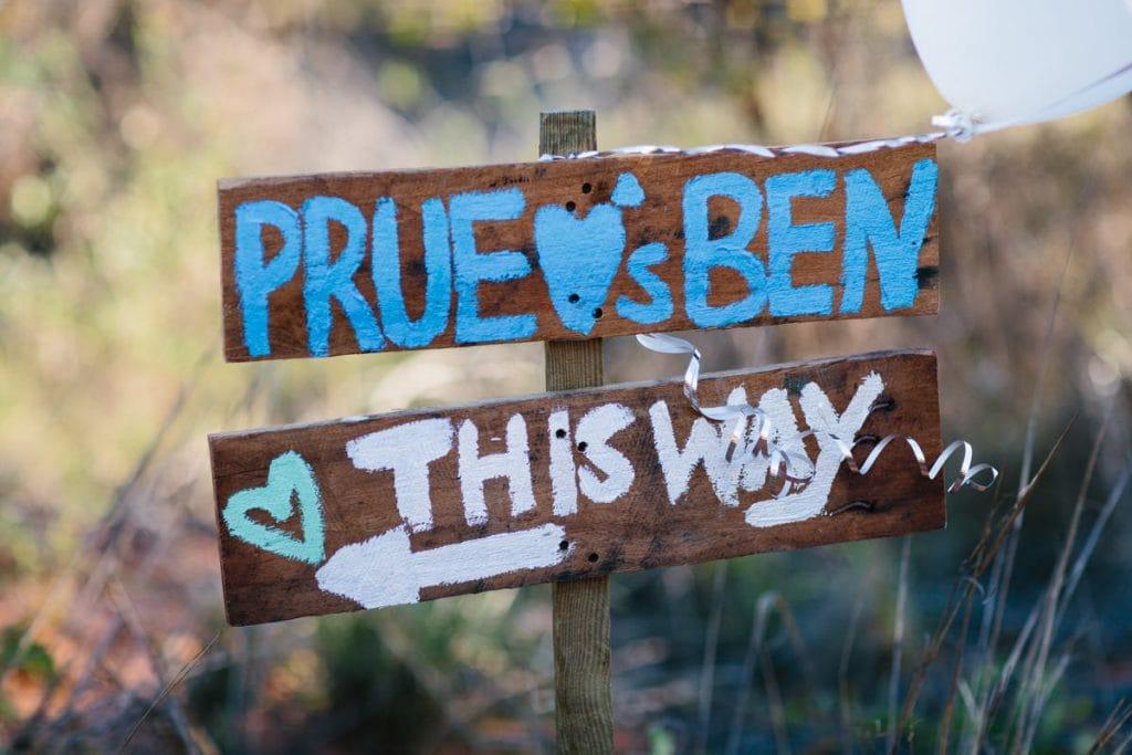 wooden beach wedding sign