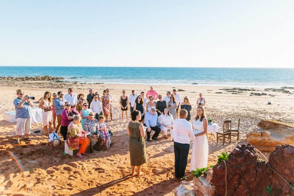 wedding ceremony at Riddell Beach in Broome