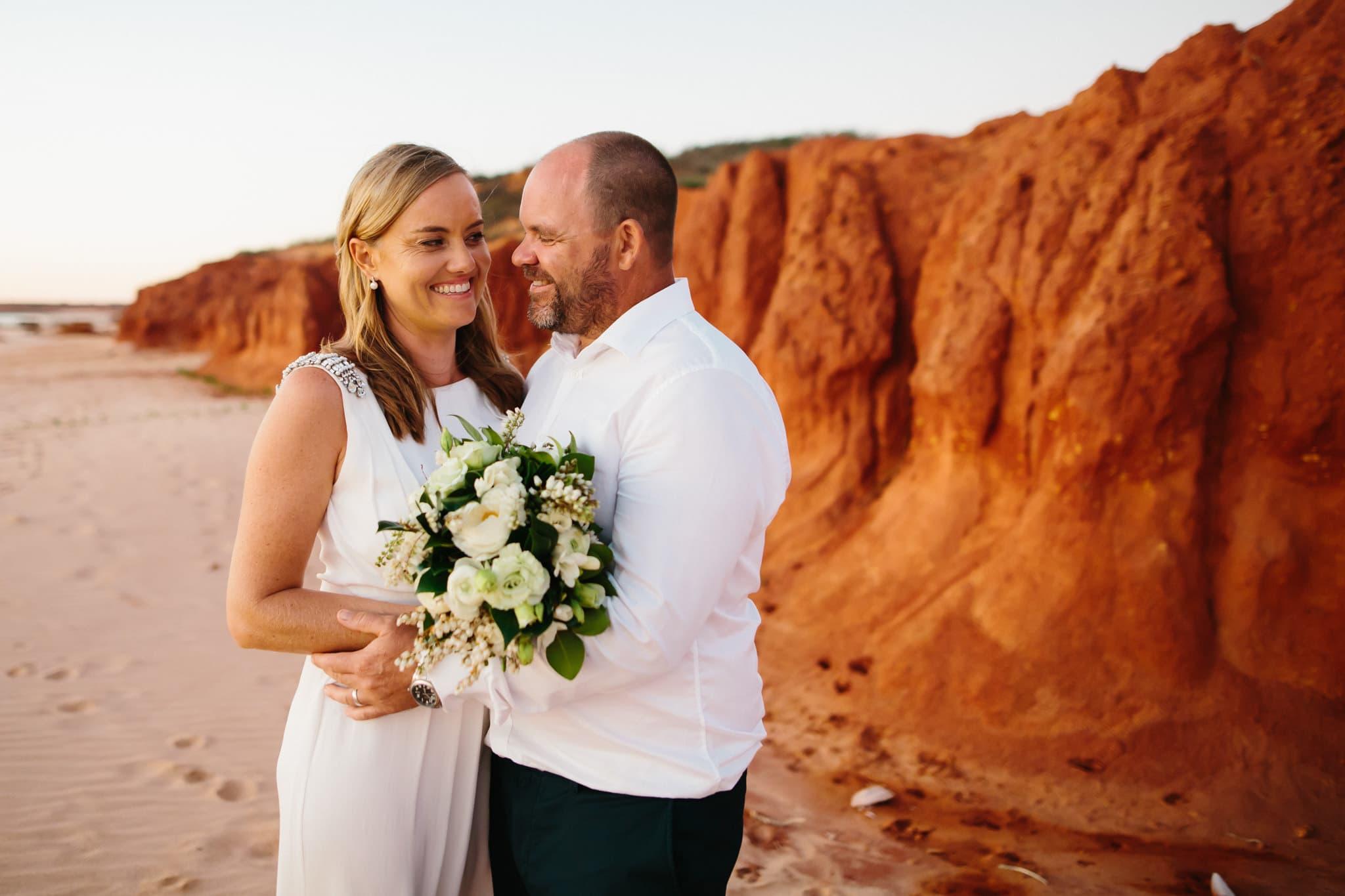 Broome wedding couple on beach