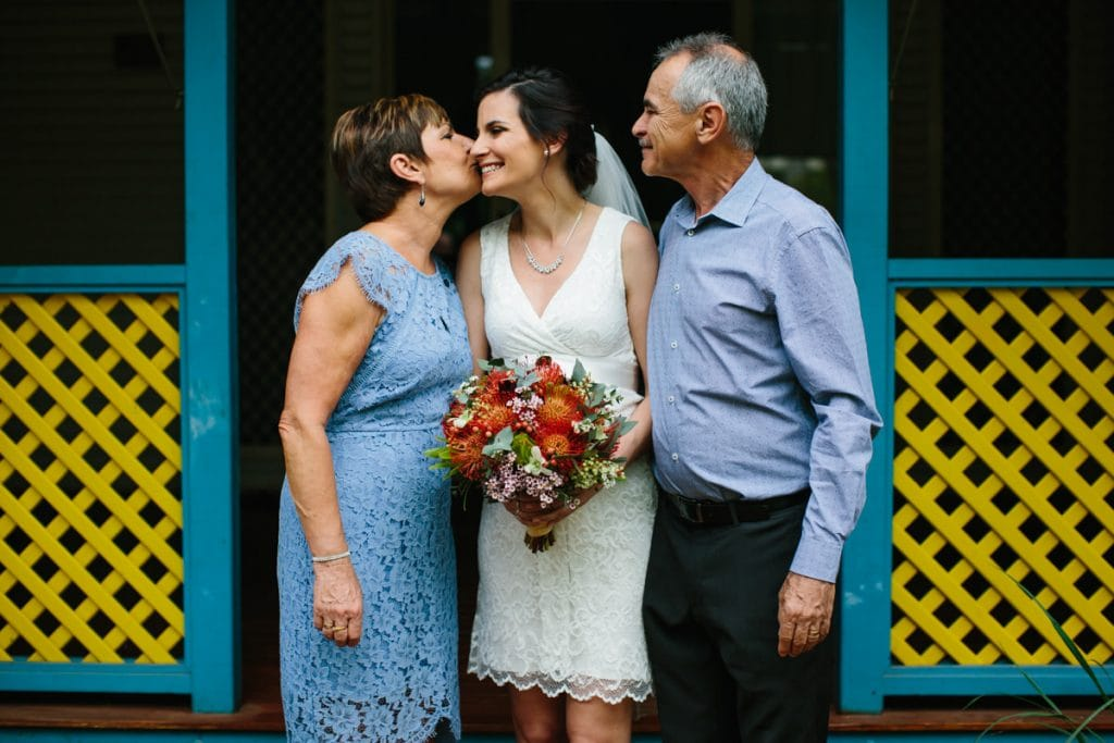 Bride with her parents at Habitat Resort in Broome