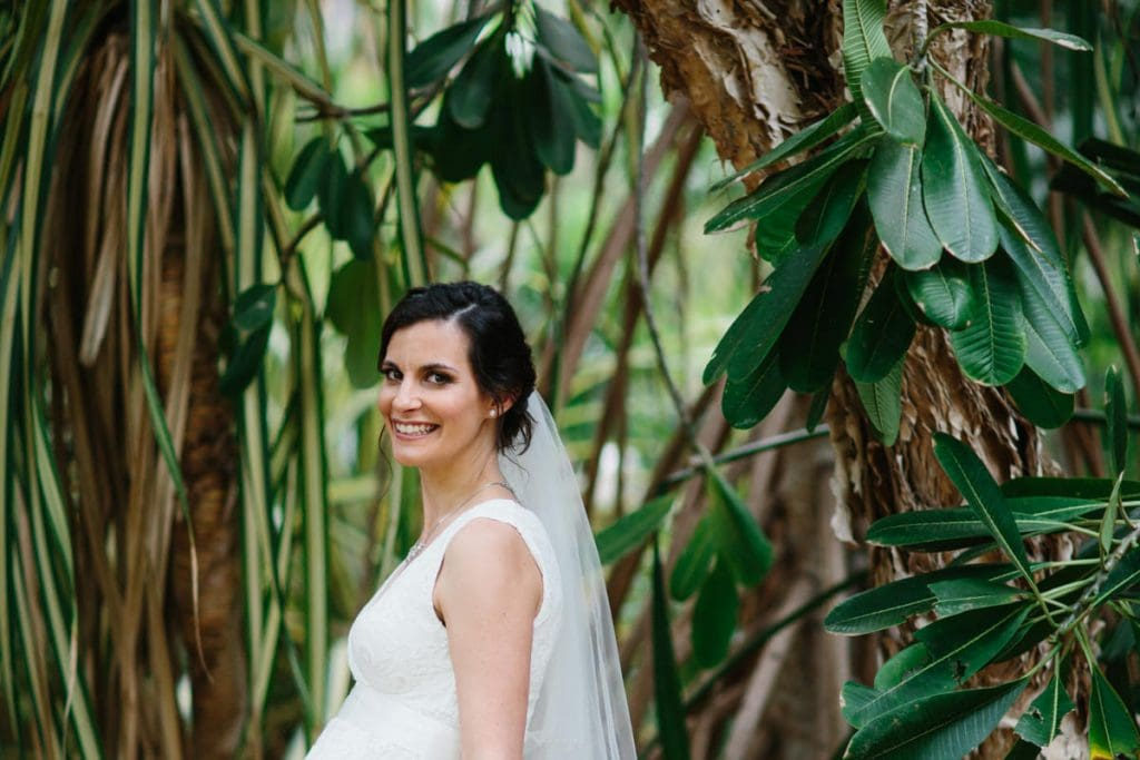 bride among the trees at Habitat Resort