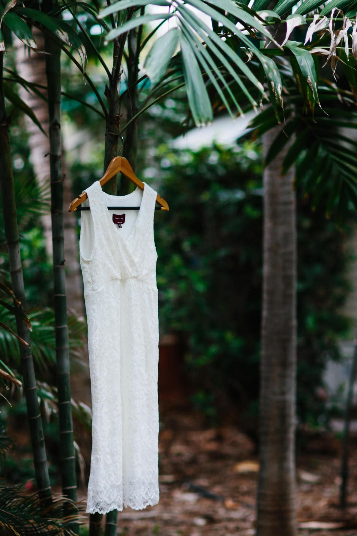 Broome wedding dress hung up tree