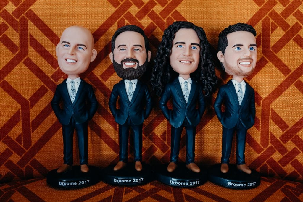 bobble heads of groomsmen at Broome wedding