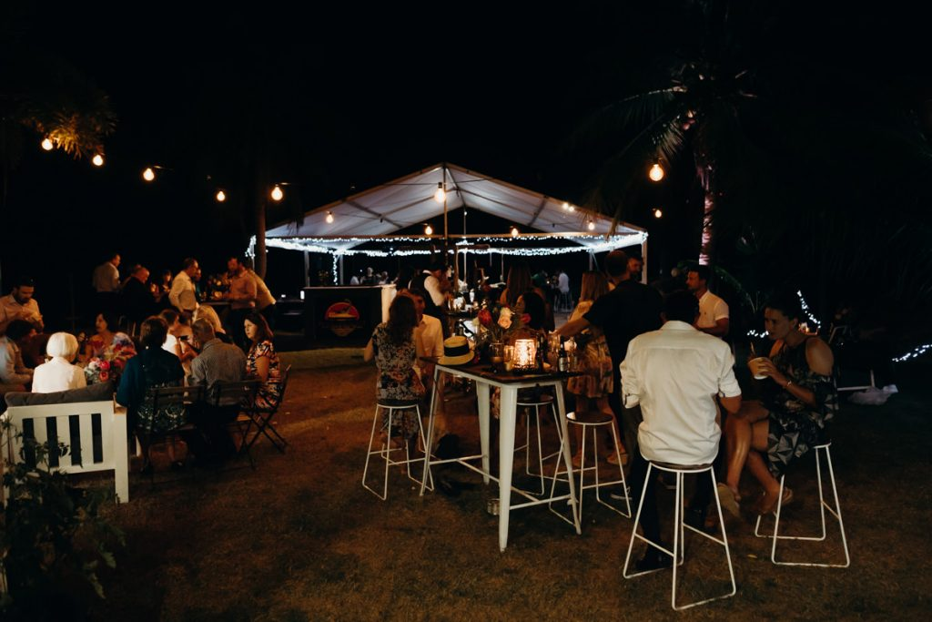 wedding reception with fairy lights at Roebuck Bay