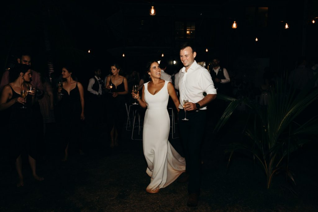 bride and groom entering the wedding reception party at Broome Hovercraft base
