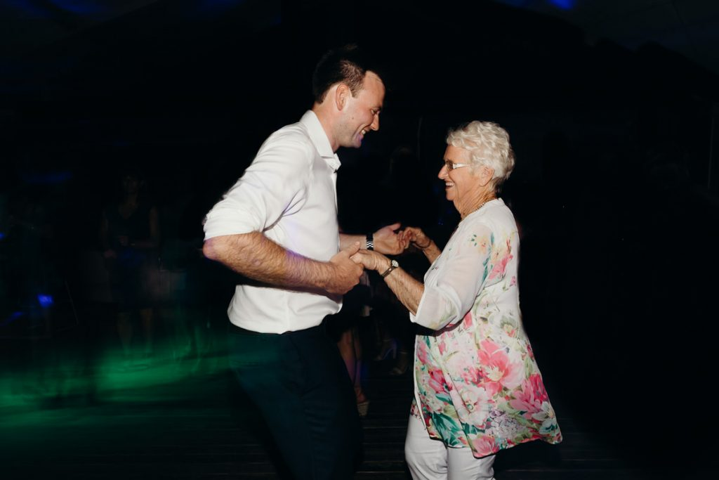 groom dancing with his grandmother on the dancefloor at his Broome wedding