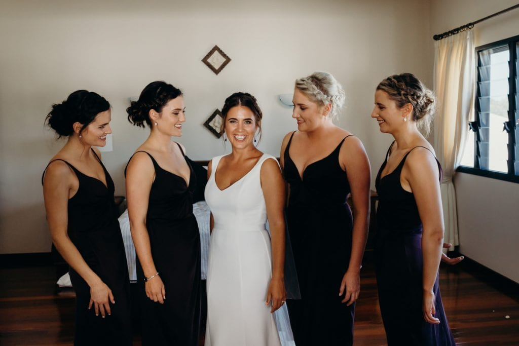 group photo of bride and bridesmaids Broome wedding