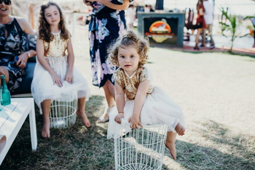 little girl in golden dress