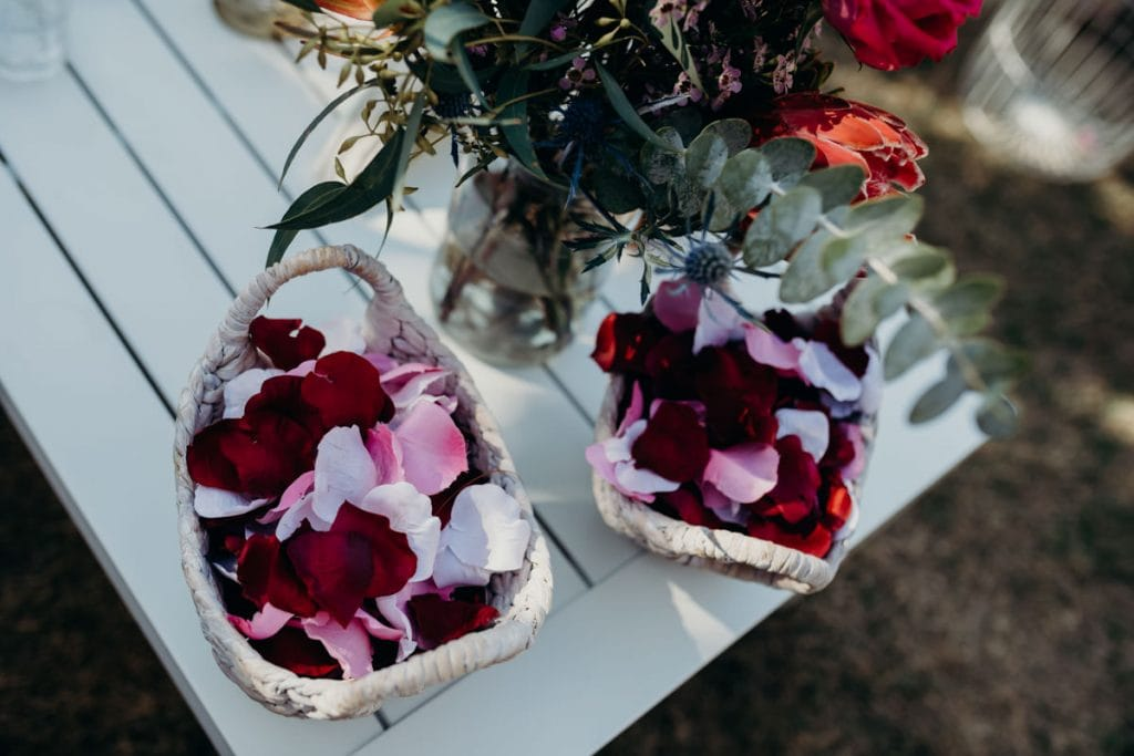 rose petals in little basket ready for Broome wedding ceremony