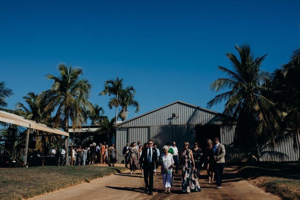 Roebuck Bay wedding guests walking to ceremony