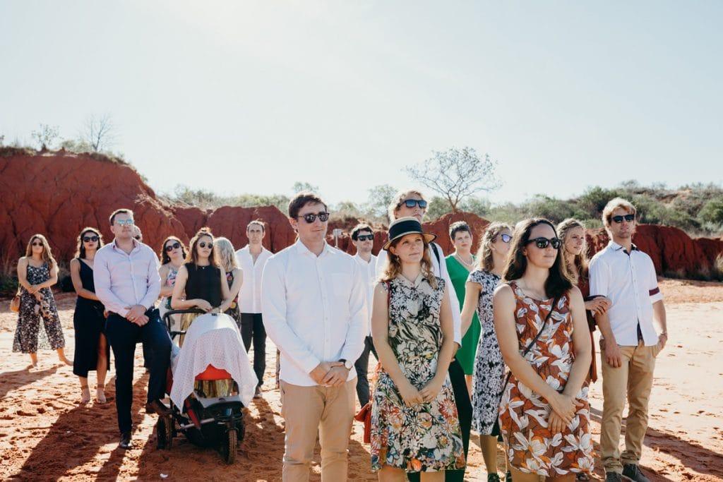 wedding guests at Hovercraft Roebuck Bay wedding in Broome Western Australia