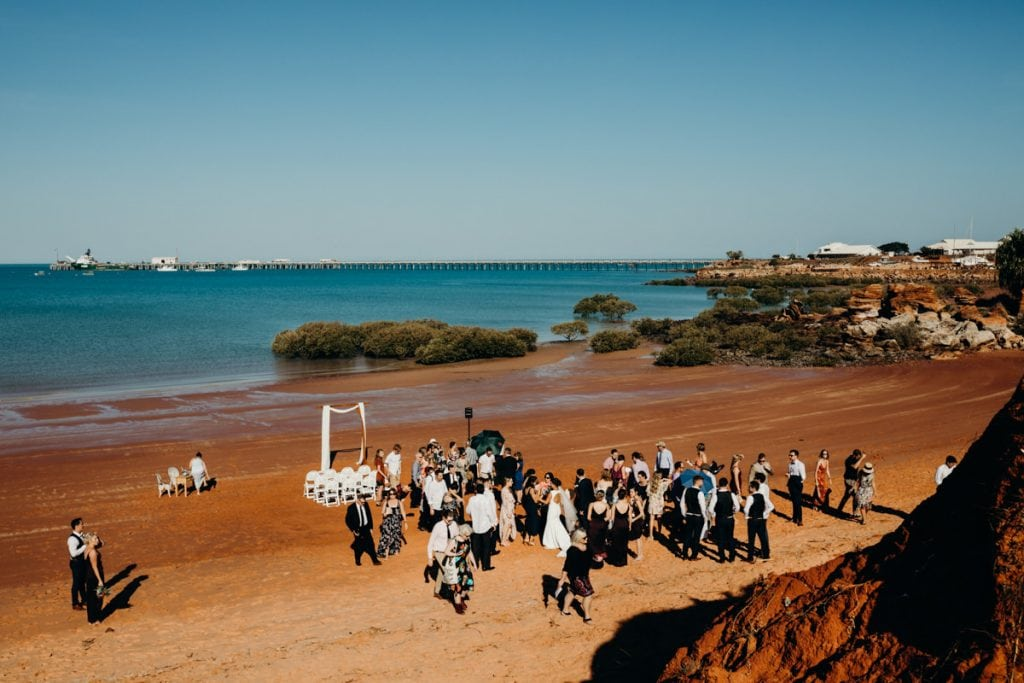 Wide views over Roebuck Bay with Port of Broome in the backgroun