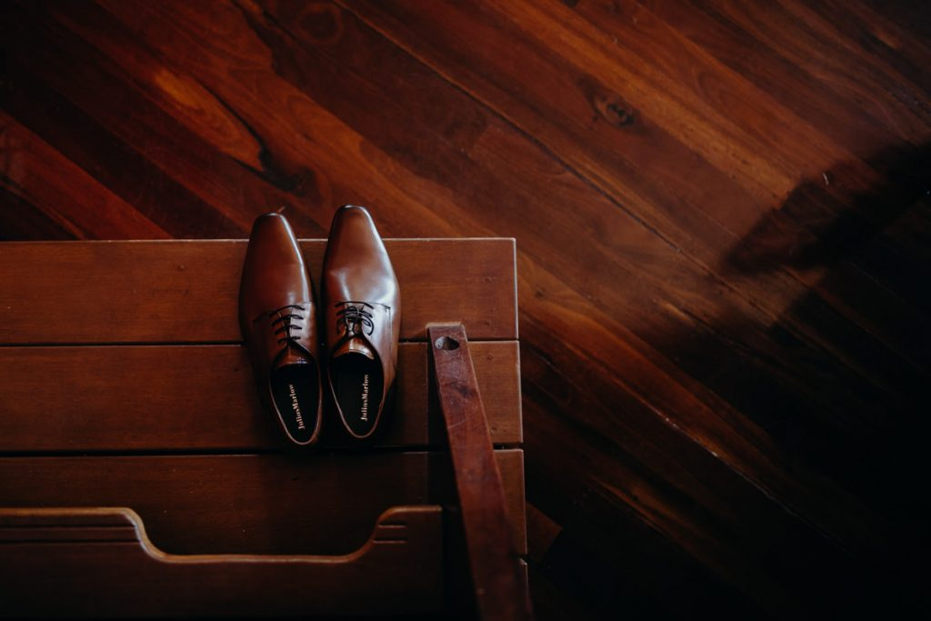brown shoes on step