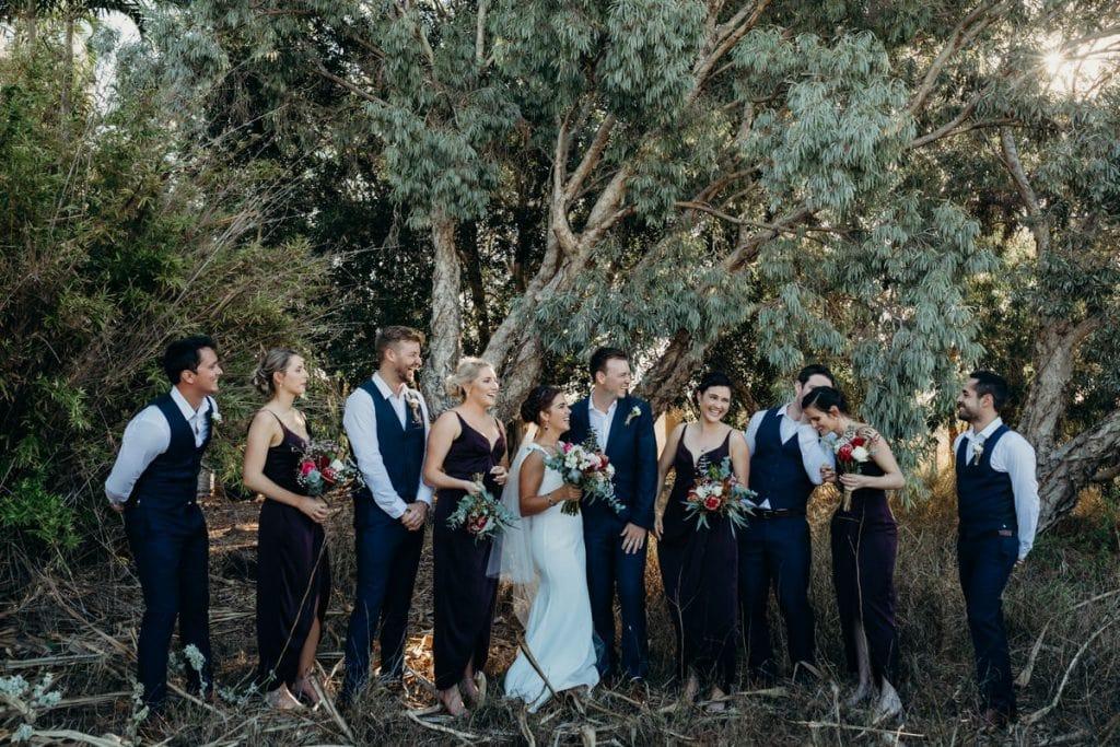 wedding party under shady gum tree