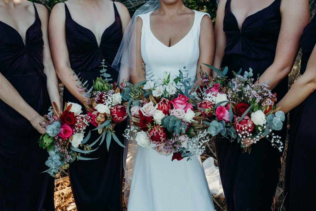 close up of Australian native flower bouquets at Roebuck Bay wedding in Broome