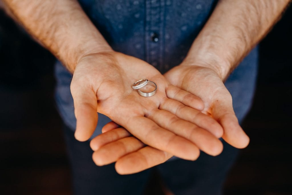 close up of man's hands with wedding rings