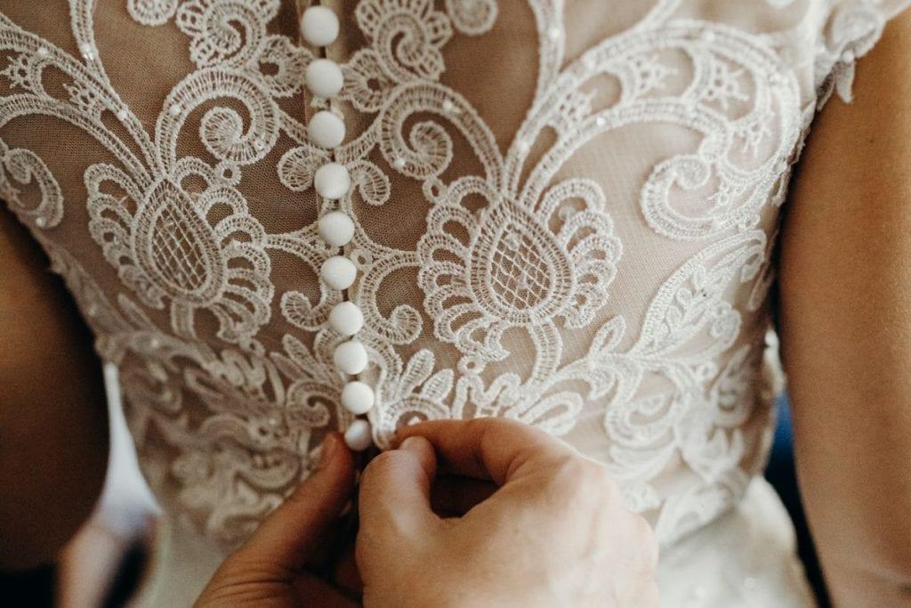 close up of Mia Solano wedding dress