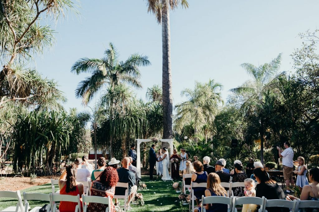 wedding ceremony at Lily Pond Gardens at Cable Beach Club