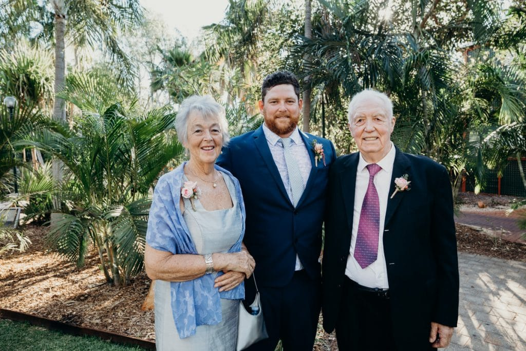 groom with his parents at Cable Beach Club Resort