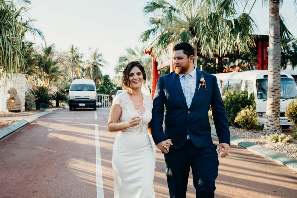 wedding couple in front of Cable Beach Club Resort in Broome