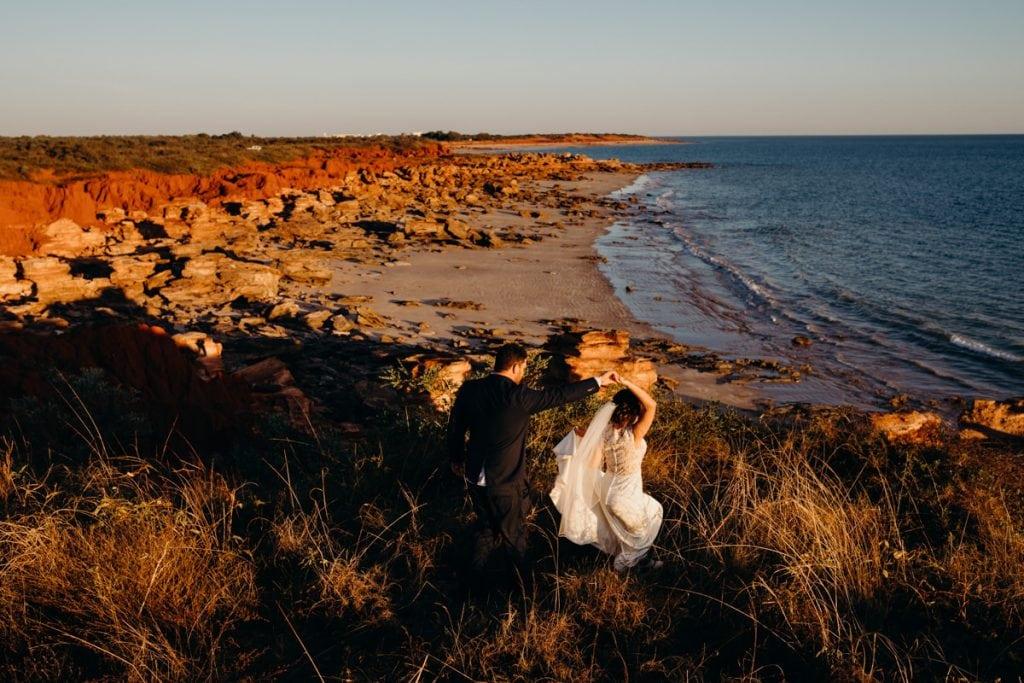 wedding couple at Gantheaume Point near Riddell Beach
