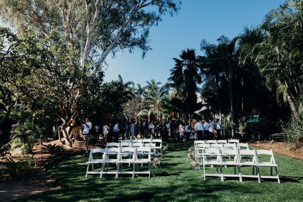 ceremony set up at Lily Pond Lawn at Cable Beach Club Resort