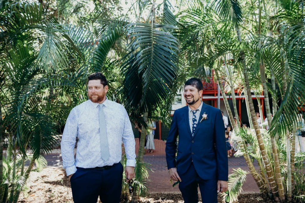 groom and groomsman at Lily Pond Lawn