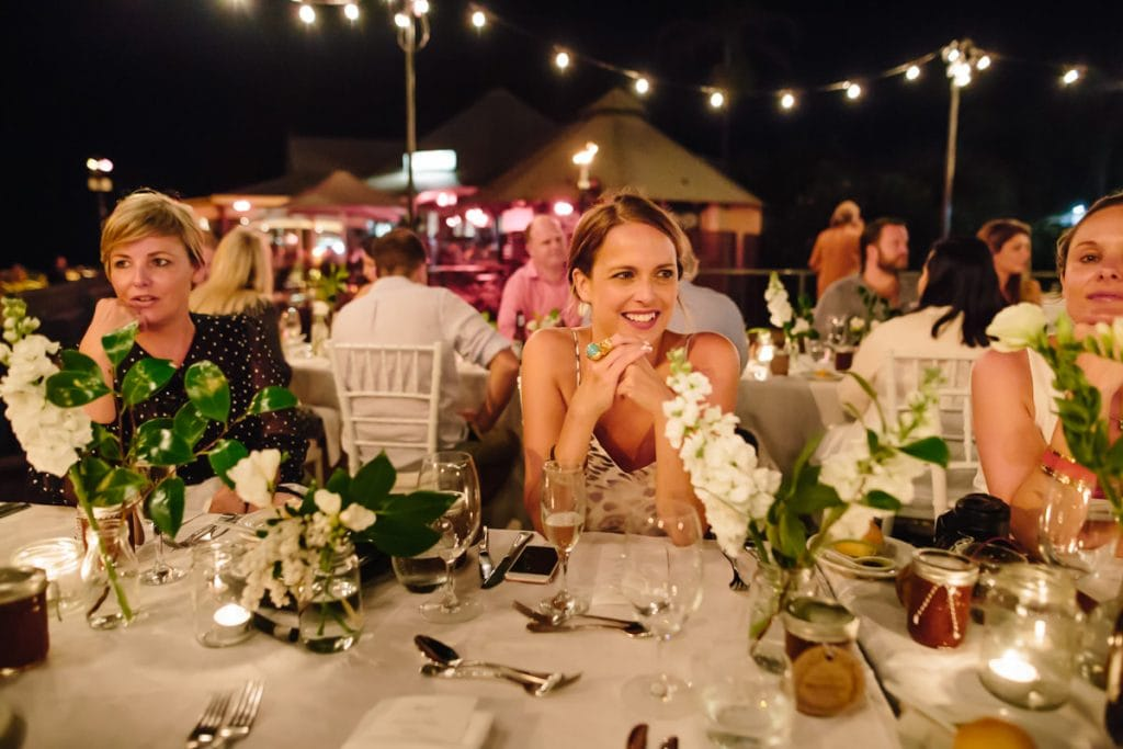 wedding guest on Okari deck Cable Beach Club