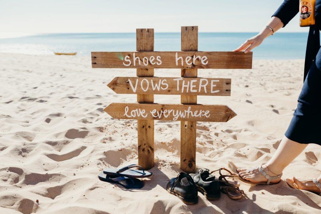 wooden wedding sign