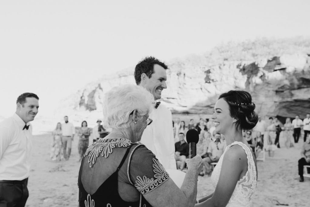 exchange of wedding vows ar Eco Beach wedding ceremony