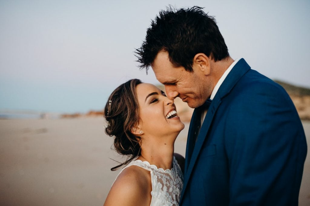 close portrait of bride and groom