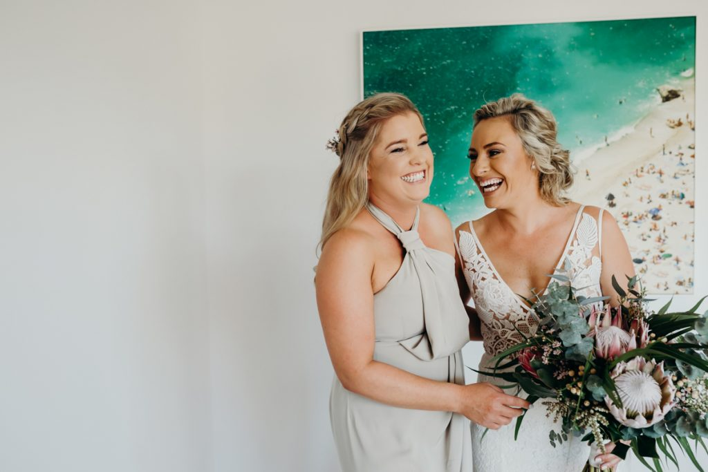 Broome wedding photographer bride and bridesmaid