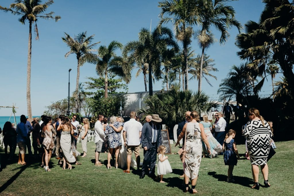 guests are mingling after wedding ceremony in Broome