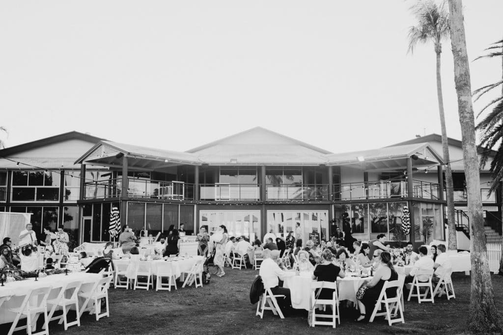 wedding guests seated at Mangrove Hotel in Broome