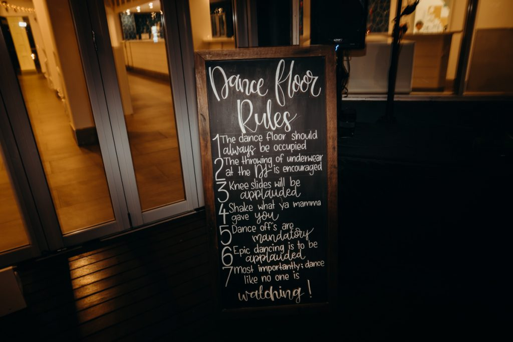 Dance floor rules sign by Broome Vintage Wedding Hire in Broome
