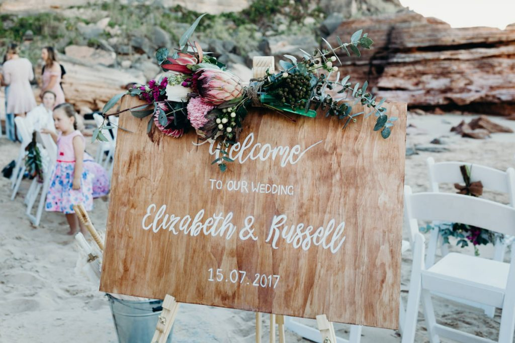 wooden wedding sign with personalised names