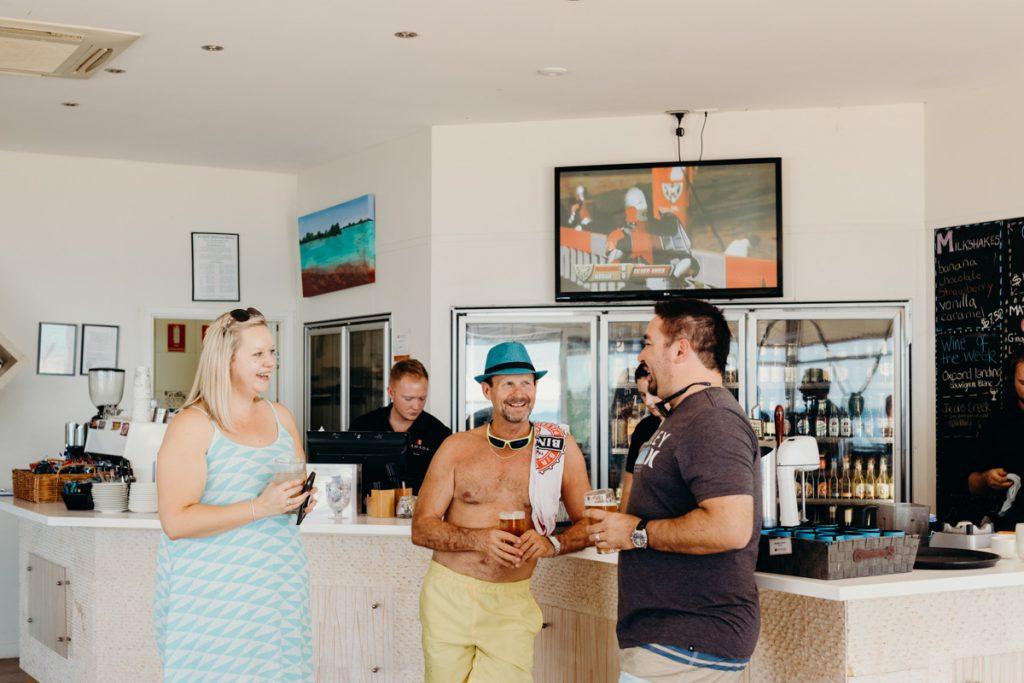 wedding guests at Jack's Bar at Eco Beach Resort