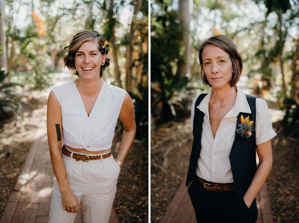 portraits of two young woman about to be married at barefoot Broome elopement