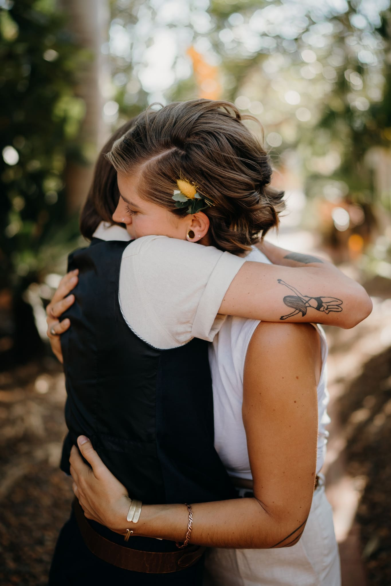 two women hugging each other lovingly at Broome elopement wedding