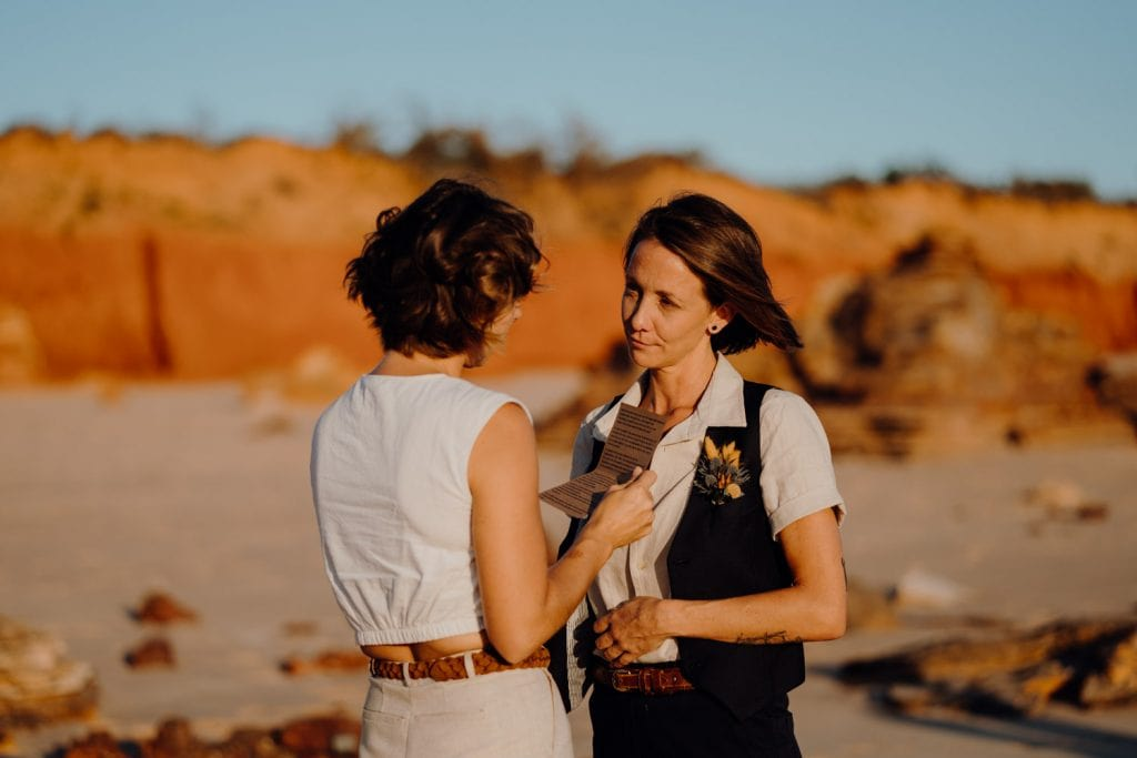 sharing of wedding vows on Reddell Beach during Broome elopement wedding