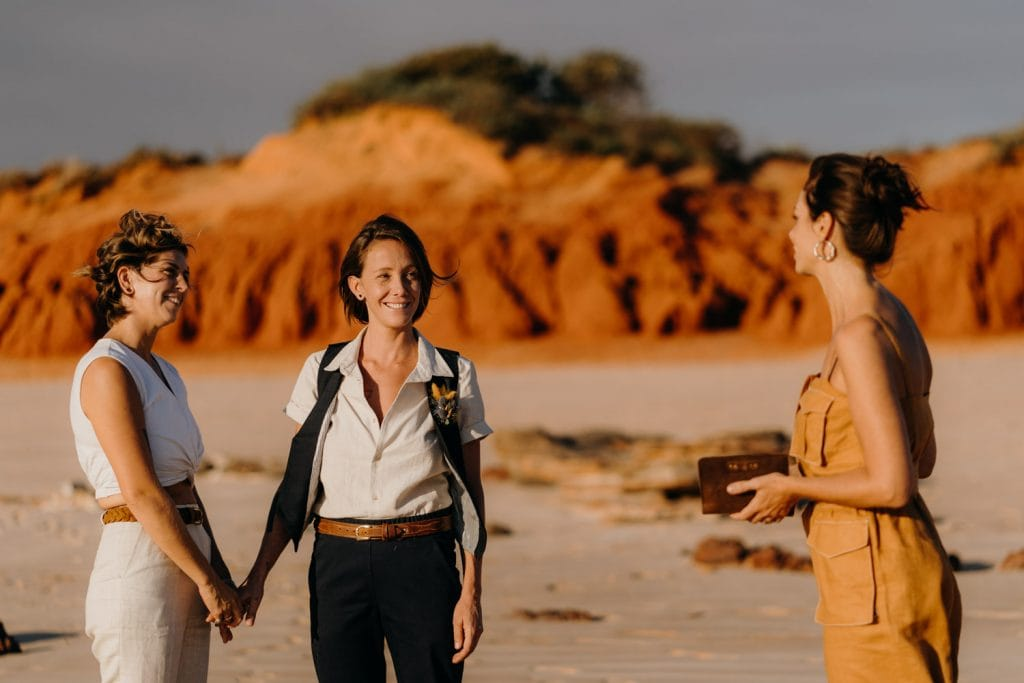 two women and their celebrant during Broome elopement ceremony
