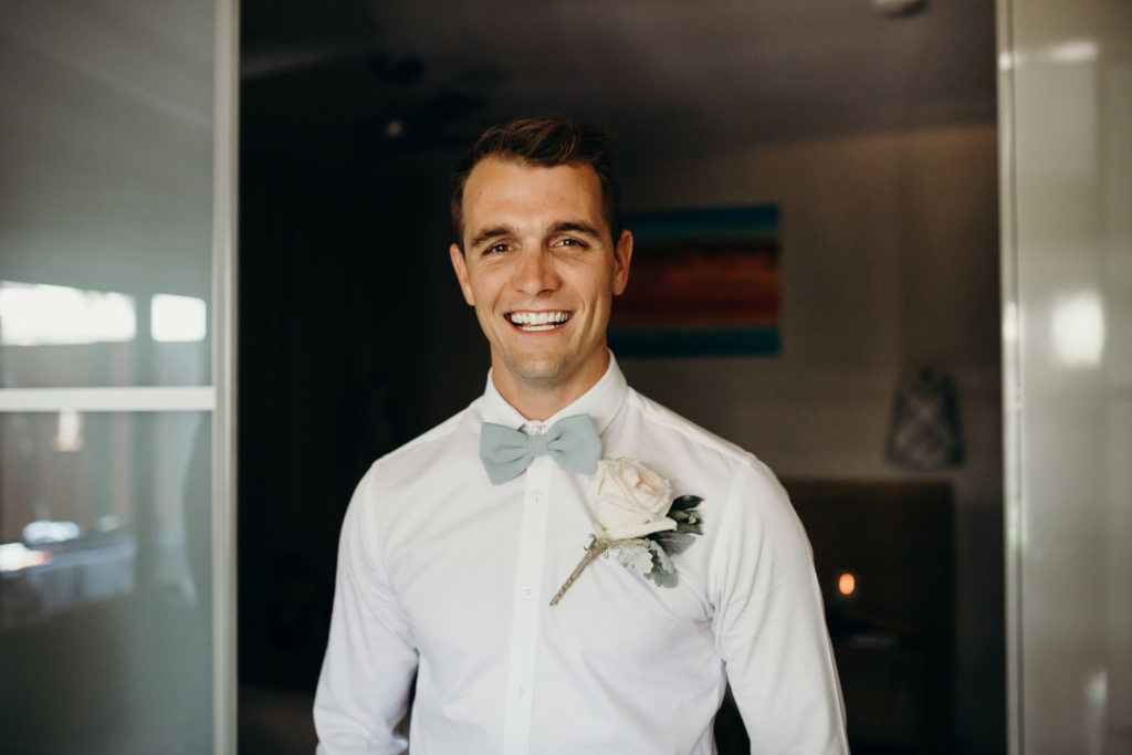 smiling groom ready for Broome wedding at Fishing Club