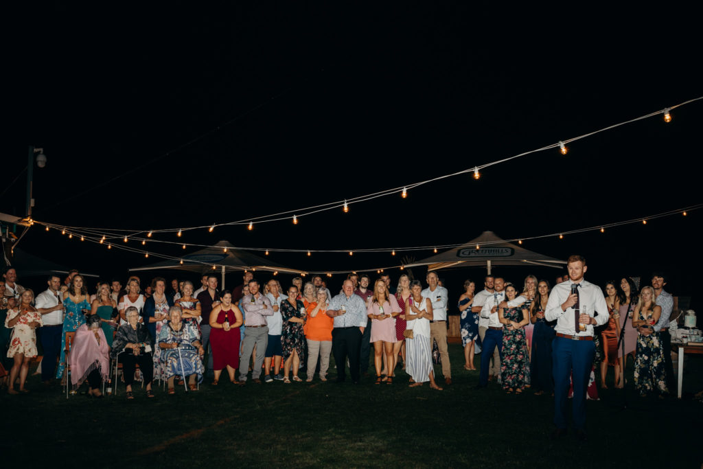 best man gives a speech at Broome Fishing Club wedding