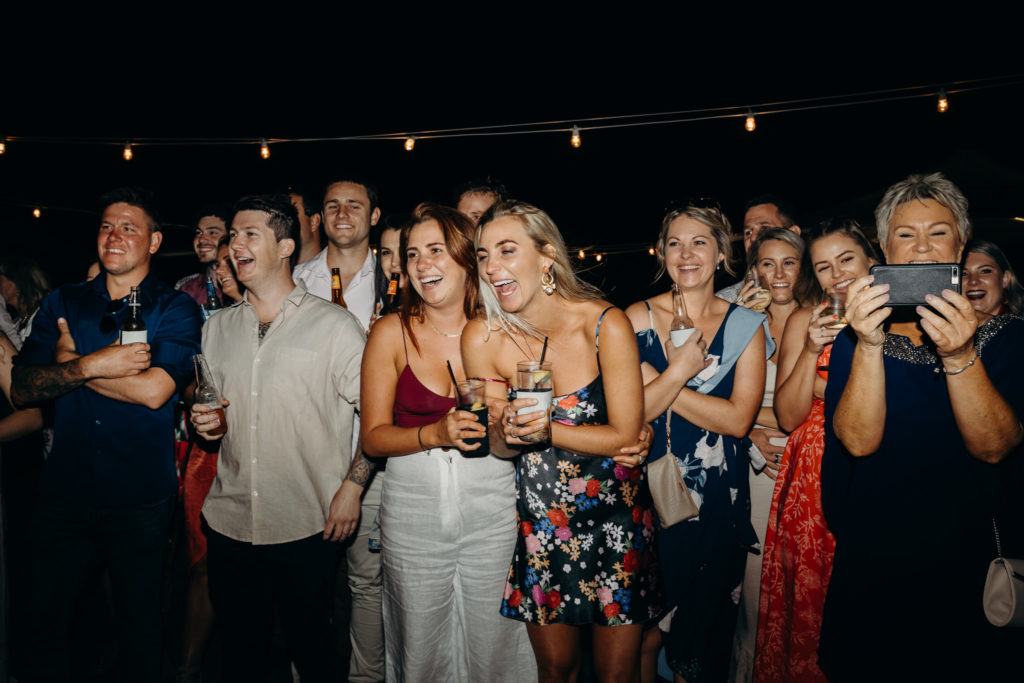 group of laughing women on dance floor at Broome Fishing Club