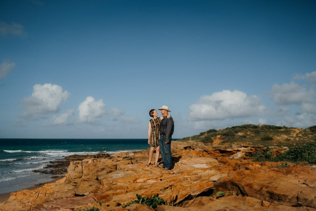 sunrise wedding couple at entrance point beach in Broome