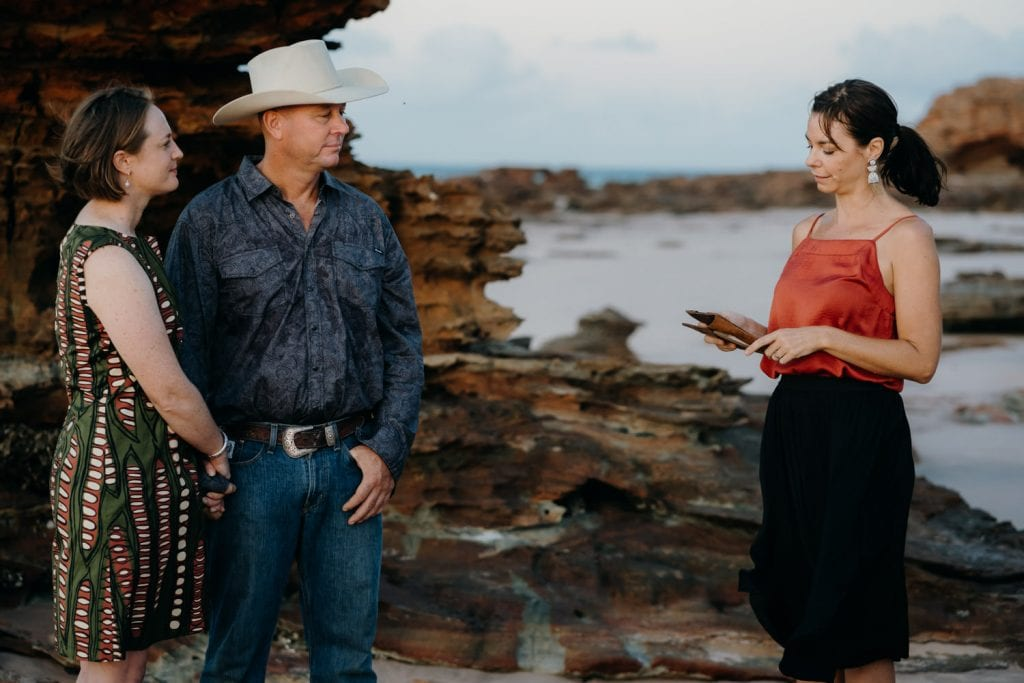 Kelly Morrow celebrant officiates sunrise beach ceremony in Broome