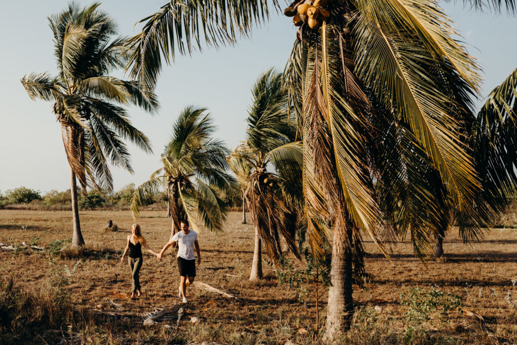 couple shoot with man and woman walking in between palm trees
