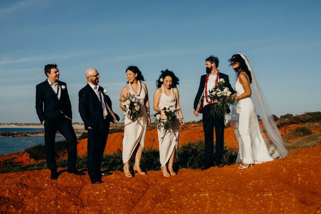 Broome bridal party on Gantheaume Point Julia Rau Photography
