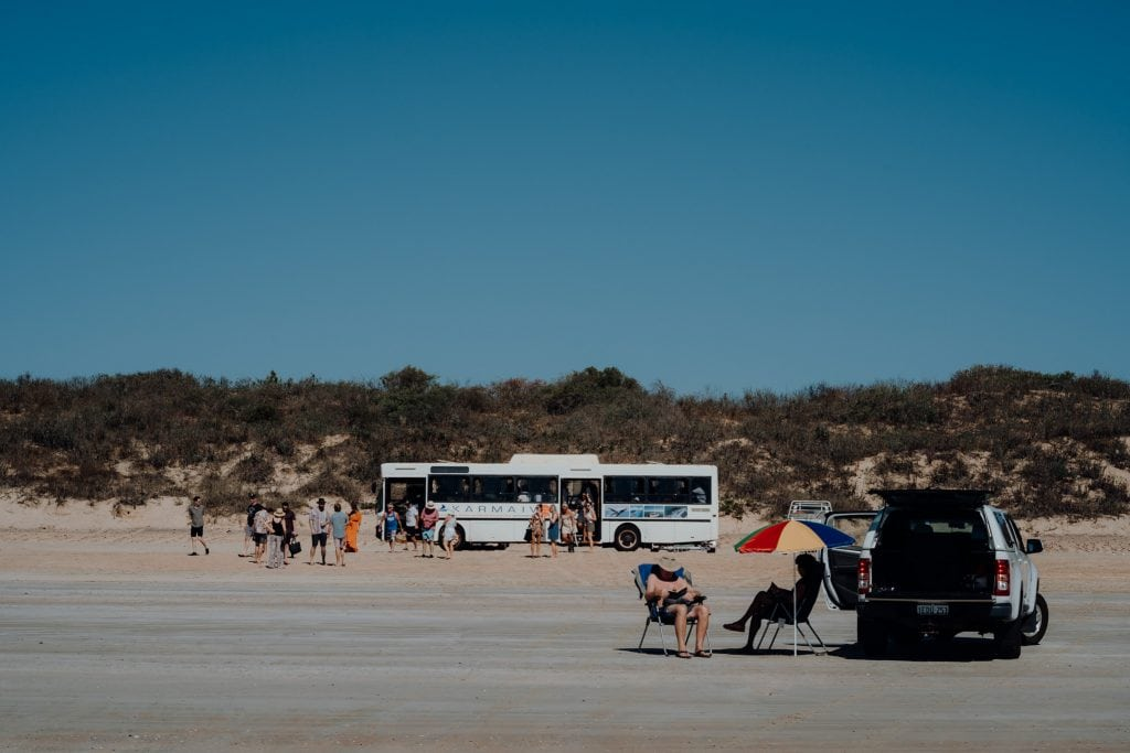 Wedding guests arriving for Karma IV Broome Whale Watching Cruise onGantheaume Beach in Broome