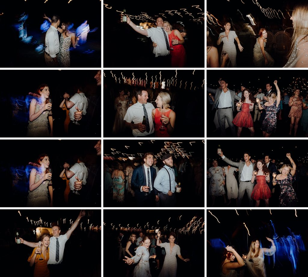 composite of twelve party shots of wedding guests dancing at Cable Beach Amphitheatre wedding in Broome